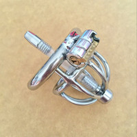 Wholesale urethral insert cage for sale - Group buy Stainless Steel Small Chastity Cage with Urethral Insert Male Chastity Device