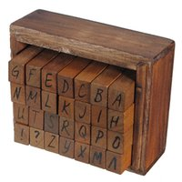 Wholesale Wooden Alphabet Stamp - Wholesale-Best Promotion Capital Letter Alphabet Stamp Box Hand Writing Stamp Antique Wooden Rubber Stamp Box