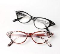 Wholesale Read Diamond - New Women Cat Eye Reading Glasses Men Resin Full Frame Eyewear Glasses Diamond Black Leopard Reading Glasses 10pcs lot
