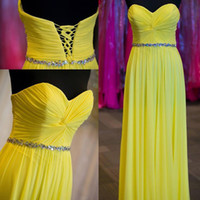 Wholesale Bridesmaid Dress Sweetheart Neckline Crystals - Gorgeous Cheap High Quality 2016 Yellow Prom Dress Long Ruched Chiffon Sweetheart Neckline Sleeveless Lace-up Back Bridesmaid Dress Crystals