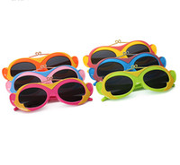 Wholesale Kid Eyeglasses - 6 Colors New Kids Polarized Sunglasses Childrens' Day Children Soft Flexible Monkey Eyeglasses Boys Girls Sun Glasses 6Pcs Lot