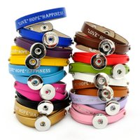 Wholesale Happiness Bangle - Love Happiness Hope handmade PU leather 18mm snap Bracelets Fit Snaps Snap Buttons giger snap jewelry with adjustable