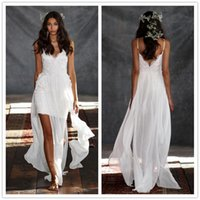 Wholesale Dresses Size Weding - 2015 New Sexy Weding Dresses Morocco Stlye A Line Beach V-Neck Lace Mini Beneath Shealth And Flowing Chiffon Backless Short Wedding Gowns