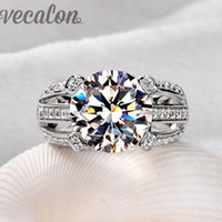 Wholesale 925 sterling silver white topaz ring for sale - Group buy Vecalon Female Solitaire ring ct Topaz Simulated diamond Cz Sterling Silver Engagement wedding Band ring for women