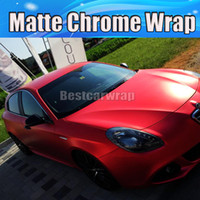 Wholesale Red Chrome Vinyl - Red Matte chrome Vinyl Car wrapping Film with Air Bubble Free chrome satin red wrap covers coating foil 1.52x20m Roll 5x66ft