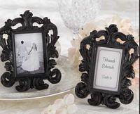 Wholesale Baroque Resin Frame - Wholesale- Free shipping 12*9cm Black and White Resin Baroque Photo Frame Frames Elegant Place Card Holder or Picture Frame 1set