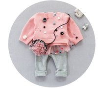 Wholesale Winter Fur Outfits - 2016 Children Girls Winter Fur Ball Round Neck Long Sleeve Tops Gauze Patched +Legging 2 pcs Outfits Baby Girls Beige Pink Set B4259