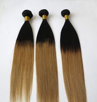 Wholesale Wholesale Weft - Two Tone Brazilian Ombre Hair Extensions 3 Bundles Ombre 1B&30 Straight Human Hair Weave Brazilian Straight Hair Weft