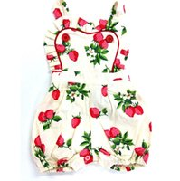 Wholesale Strawberry Baby Romper Cotton - ins Girls Baby onesies Newborn Rompers Clothing Summer Cotton Strawberry Printed Romper Jumpers Toddler Jumpsuits Infant Bodysuit Clothes