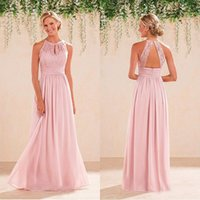 Wholesale Halter Top Chiffon Evening Gown - Cheap High Quality Prom Dresses 2016 Blush Pink Lace Top Halter Neck Open Back Sleeveless Long Formal Evening Party Gown Bridesmaid Dress