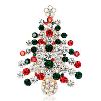 Wholesale female brooches resale online - 2016 New Christmas Tree Brooch Rhinestone Crystal Brooches For Female Pins Lapel Pin Women Wedding Scarf Pins Charm Jewelry
