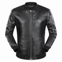 Wholesale Leather Hip Hop Winter Jackets - 2018 Autumn Winter Hot Sale Long Sleeve Genuine Leather Jacket Casual Fashion Hip Hop Luxury Man Jacket Clothing #9068