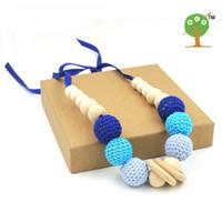 Wholesale Wooden Ball Necklaces Wholesale - 5pc safe organic Handmade Crochet ball fade blue grey nursing Teething necklace knit ball necklace wooden EN19