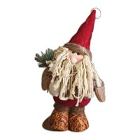Wholesale Vintage Flocked Ornaments - 1Pcs Vintage Christmas Ornaments Christmas Tree Decorations Stand Long Beard Santa Claus Doll Christmas Decorations For home