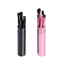 глаза пони оптовых-5шт Профессиональная кисточка для теней для век, черный / розовый мягкий набор для макияжа с пони, набор кистей для макияжа глаз + круглая трубка