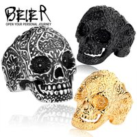 Wholesale Titanium Band Ring Blue - Black Blue Gold Silver Skull Rings Punk Titanium Steel Ring Beier Jewelry For Hip-Hop Cool Men
