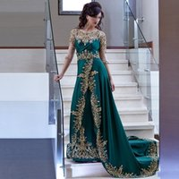 Wholesale Celebrity Red Carpet Inspired Dresses - Arabic Dubai Hunter Green Sheer Long Sleeves Evening Dresses Gold Lace Appliqued Embroidery Beaded Celebrity Prom Dresses With Sweep Train