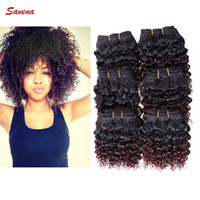 Wholesale Afro Kinky Human Hair Extensions - 6pcs lot Afro Curly 300g Human Hair Extensions Short Size 8 inch 8'' Brazilian Kinky Curly 50g pc Weft 100% Human Hair