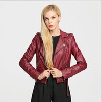 Wholesale White Leather Zipper Jacket Women - 2016 Women Fashion Spring and Autumn Slim Short Lapel Long Sleeve 4 Colors PU Leather Jacket