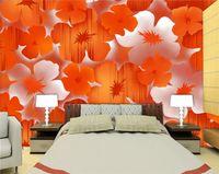 ropa de cama moderna naranja al por mayor-3d room wallpaper custom photo mural Moderno elegante flor de naranja de fondo sofá TV sala de cama bar Hote lliving mural habitación papel tapiz