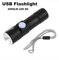 Wholesale Rechargeable Usb Mini Led - USB Flashlight Super Bright Q5 2000LM USB Handy LED Torch Light Waterproof Rechargeable Zoomable Light Lamp For Hunting Camping
