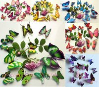 Wholesale Home Television Sets - 12 pcs set DIY 3D Butterfly wall stickers home decor for living room,bedroom,kitchen,toilet,and Festive wedding decoration