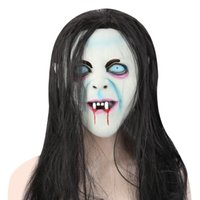 Wholesale Grudge Halloween Masks - Horror Latex Mask with Wig Hair for The Grudge Sadako Ghost Figure Masquerade Halloween Party Bar Supply