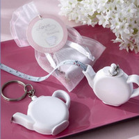 Wholesale Teapot Wedding Favors Gifts - Love is Brewing Teapot Plastic Measuring Tape Keychain Portable Mini Key Chain Wedding Christmas Gift Favors ZA1221