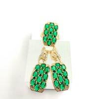 Wholesale Ashley Free - Ashley Huge deep Emerald 925 Sterling Silver Jewelry Sets For Women Hoop Earrings Rings Free Gift Box