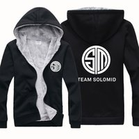 Wholesale Cheap Fleece Sweaters - New Cheap Wholesale TSM Team Solomid Men Winter Sports Outerwear Coats Hoodies Wool Blends Jersey Cardigan Sweater Jacket