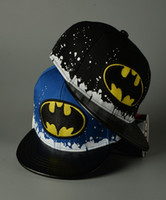 Wholesale Snapback Caps Batman - Kids Hats Children Hip Hop Cap Boys Girls Batman Korean Fashion Children Boys Girls Baseball Snapback Hat