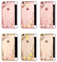 Wholesale Luxury Garden Wholesale - For iPhone 6 6S Plus 7 7plus Luxury Bling Diamond Electroplate Frame Soft TPU Case Secret Garden Flower Clear Cover Shell DHL Free SCA106