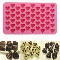 Venda por atacado - 2015 Hot Sale 55 Hearts Cubo de gelo de silicone Bolo de chocolate Bolacha Cupcake Soap Molds Mold Tool 1 PCS
