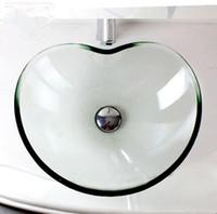 Badezimmer Waschbecken Glas Großhandel Waschbecken Glas Badezimmer Saubere  Geräte Gehärtetes Glas Chinesische Produkte Waschbecken Herzform