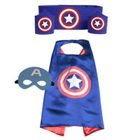 Wholesale Spiderman Masks For Kids Party - mask cape Superhero capes cape+mask+armband+waistband set - kids batman spiderman Hulk Thor robin capes cuff with belt for party cosplay