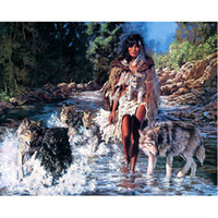 Wholesale Beauty Mosaic - New mosaic Diamond embroidery beads Beautiful forest beauty and wolf cross stitch home decoration gift 50x40cm HWB-859