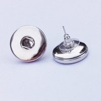 Wholesale Stud Button - 12 pairs lot fashion noosa chunks metal ginger 18mm snap button stud earrings jewelry for women
