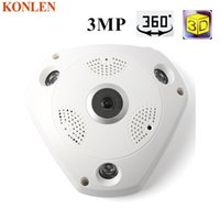 Wholesale Ip Kamera Outdoor - 360 Camera IP 3MP Fish Eye Panoramic 1080P WIFI PTZ CCTV 3D VR Video IP Kamera Cam Micro SD Card Audio Remote Home Monitoring