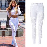 Wholesale womens boyfriend jeans - Sexy Womens High Waist Skinny Ripped Boyfriend jeans for women Casual Slim Fit Cool Hole Denim Cotton Jeans Stretchy Denim Pencil Pants