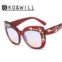 Wholesale Vintage Rose Flower Frame - KOWILL New Luxury Queen cat eye Sunglasses Women Rhinestone Rose Flower Vintage Oculos De Sol brand design women sunglass B109