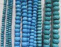 Alta calidad 2 strands 3x4 4x6 5x8 8x12mm magnífico Turquesa piedra Rondelle Abacus Faceted Blue Green turquesa collar Loose Bead