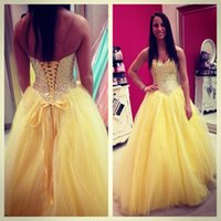 Wholesale Garduation Dresses - Fashion Luxury Long Prom Dresses 2016 Sweethart Beading Lace Up Yellow Tulle Formal Evening For Garduation Party Gowns