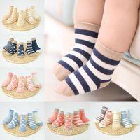mädchen polka dot socken großhandel-Baby Jungen Mädchen Winter Warme Socken Kleinkind Streifen Tupfen Gedruckt Baumwolle Sox Sommer Frühling Baby Socken
