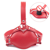 Wholesale Bondage Ball Gag Head Harness - Red Faux Leather Harness Men Women Dildo Insert Open Mouth Gag Head Bondage Hood Sex Mask Adult Games Erotic Sex Toys