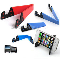 Wholesale ipad mini small online - Mini Foldable Multifunctional Phone Holder V Shape Design Stand for Cell phone Tablet PC ipad Universal Small Bracket Holders Colorful Cheap
