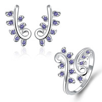 Wholesale Blue Silver Gemstone Earrings - Best gift fashion plant 925 silver earring ring jewelry sets; brand new sterling silver blue gemstone set fit women wedding GTFS059A
