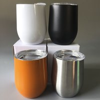 Wholesale Wine Bottle Oz - Cup with lid 304 Stainless Steel 9 Oz Egg swg Mugs Bottles Drinkware Cup Coral Wine 9oz Tumbler