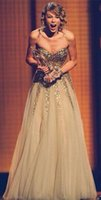 Wholesale Golden Beaded Mermaid Prom Dress - Golden Sequins Prom Dresses 2016 Vestido de Festa Sweetheart Especially Design Appliques Floor Length Celebrity Party Evening Gowns