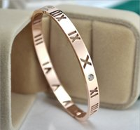 Wholesale Roman Gold Bracelet - New 18K rose gold hollow Roman digital single drill bracelet female Korean version of the fashion couple bracelet gold