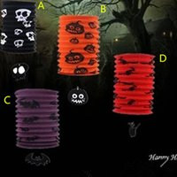 Wholesale witch lantern - 50pcs Halloween Telescopic straight pipe organ lamp 4 color bat witch design paper lantern